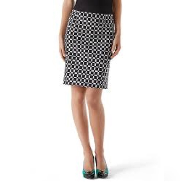Whbm Black White Check Pencil Skirt